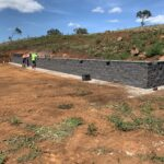 Working on retaining wall